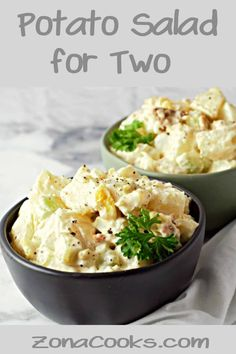 This creamy Potato Salad is loaded with bacon tender potatoes egg diced pickle onion and celery smothered in a simple dressing of mayo seasoned salt and pepper. This small batch recipe makes a great side dish for two people any time of the year. Potato Salad Recipe Easy, Creamy Potato Salad, Potato Salad With Egg, Potato Recipes, Simple Potato Salad, Healthy Recipes, Vegetarian Recipes, Cooking Recipes, Vegan Vegetarian