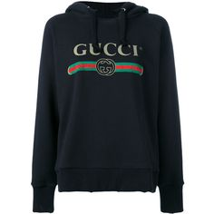 Gucci Cotton Sweater (6.620 BRL) ❤ liked on Polyvore featuring tops, hoodies, sweaters, sweatshirts, jackets, black, cotton hooded sweatshirt, hooded pullover, patterned hoody and sweatshirt hoodies