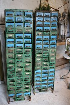 *Gorgeous* Blue and Green Metal Filing Cabinets--just what i need for my craft/repurposing junk!