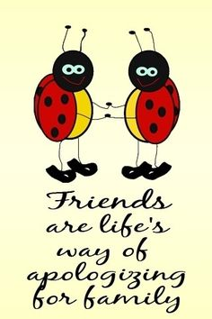 Friends are life's way of aplogizing for family. Thank goodness for friends! Jokes Pics, Jokes Quotes, Sign Quotes, Funny Quotes, Ladybug Art, Ladybug Crafts, Ladybug Quotes, Color Me Mine, Card Sentiments