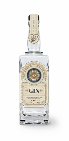 J Rieger's Midwestern dry gin is smooth, sharp gin with a beautiful bottle. Beverage Packaging, Bottle Packaging, Brand Packaging, Packaging Design, Label Design, Rum Bottle, Liquor Bottles, Menue Design, Tequila