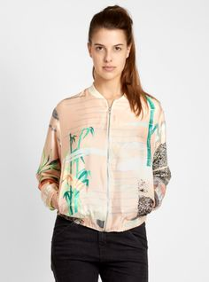 {Couverture and The Garbstore} Reality Studio ~ Lene Jacket print design by Jungle Love, Festival Essentials, Ab Fab, Tropical, Pink Blue, Print Design, Floral, Bomber Jackets, Style Inspiration