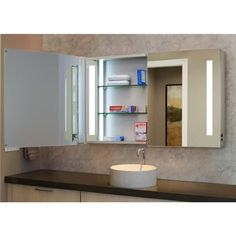 Innoci-USA Zeus LED Double Door Wall Mount Mirrored Lighted Medicine Cabinet Vanity Featuring IR Sensor, Tempered Glass Shelves and Rocker Switch x Glass Shelves In Bathroom, Floating Glass Shelves, Bathroom Mirror Cabinet, Tempered Glass Shelves, Mirror Cabinets, Display Cabinets, Small Bathroom, Led Mirror, Wall Mounted Mirror