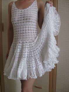 White flouncy crochet dress