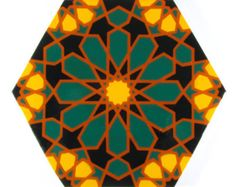Custom Tile Orders take 3-8 weeks, individual tiles may be purchased as a trivet. Discounts are available for large orders, going as low as $60 a square foot. The tiles measure roughly 7x8, and are equal in area to a square tile that measures 6x6  These hand painted tiles are of my original design, in the Moroccan style. This pattern uses a hexagon with a central star in 12, and 9 sided stars forming at the juncture points. Hand made tiles will vary more than commercial tiles, and they are…