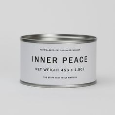 Custom made tin can by Flowmarket  'INNER PEACE' The blissful state of feeling mentally calm and free of stress and anxiousness.