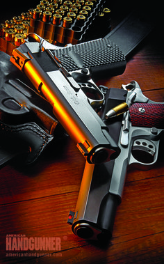 """Les Baer's Black Baer 9mm & Boss .45 ACP   """"No-Compromise"""" Quality And Accuracy   By Roy Huntington   The 9mm Black Baer we tested, is solidly based on top performing designs from their shop, while offering a few new options. And, to keep things interesting, we've included Baer's relatively new Boss .45. While it's sort of apples and oranges, it nonetheless shows how family history can be expanded in new directions.   © American Handgunner 2016"""