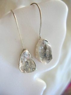 Raw Herkimer Diamond Sterling Silver Earrings.