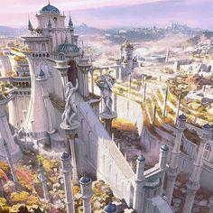 Fantasy City, Fantasy Castle, Fantasy Places, Sci Fi Fantasy, Fantasy World, Fantasy Art Landscapes, Fantasy Landscape, Landscape Art, Fantasy Concept Art