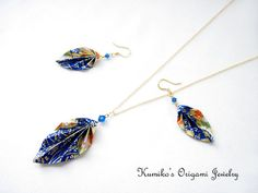 Set of Origami Leaf Earrings & Necklace with Swarovski Crystals and 14KG Filled Findings No.02136 $52
