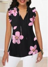 Ruffle Trim V Neck Flower Print Tank Blouse Women Clothes For Cheap, Collections, Styles Perfectly Fit You, Never Miss It! Stylish Tops For Girls, Trendy Tops For Women, Blouses For Women, Women's Blouses, Blouse Styles, Blouse Designs, Trendy Fashion, Womens Fashion, Ladies Fashion
