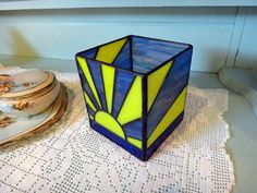 Stained Glass candle holder This candle holder is 4 inches square and 5 inches tall $42
