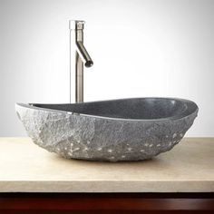 "Signature Hardware 411899 Gray 21"" Granite Vessel Sink with Light Granite Chiseled Exterior"