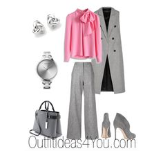 Keep it simple with neutral grey basics and then wear a pretty pink blouse. The look is professional and inviting.  You can use this style tip to create all kinds of outfits. Choose a neutral from your color palette and a pink or red. Maybe it's all taupe and a mauve sweater. Simple and styli