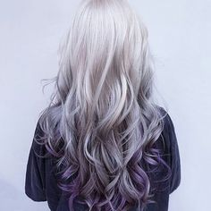 I love the curls, the silver shine ombreing into a deep violet