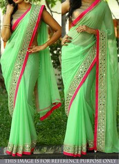 Enticing Green Lace Georgette Designer Partywear  Saree