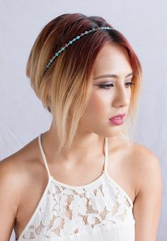 Tranquility ~ Beautiful turquoise hairband from Lilla Rose. Headbands are perfect for short hair styles or long hair. Red blonde ombré hair color