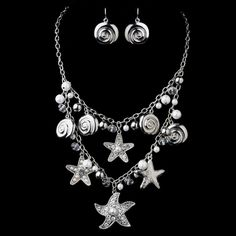 Antique Silver White 8843 Antique White Necklace Earring Set