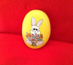 Easter Bunny with Flowers - Painted Rock