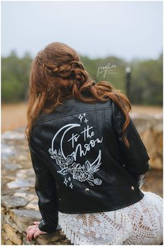 "bride wearing custom bridal jacket ""To The Moon"" Star Wedding, Dream Wedding, Custom Leather Jackets, Celestial Wedding, Luxury Wedding Venues, Alternative Wedding, Wedding Photography, Night Photography, Bridal Jackets"