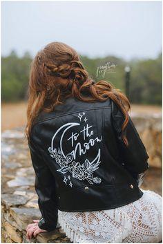 "bride wearing custom bridal jacket ""To The Moon"""
