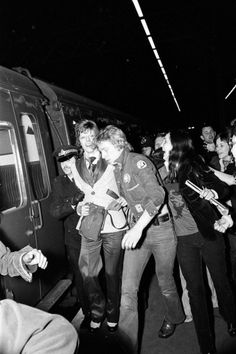 David Bowie mobbed by fans at Charing Cross Station, London, 5 May 1973