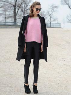 Baby Pink sweater & black peacoat