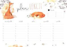 school timetable with fox Timetable Planner, School Timetable, Printable Planner, Printables, School Planner, Kids Zone, School Notes, Illustrations And Posters, Weekly Planner