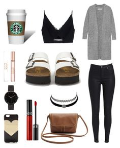 """""""Mix into Birkenstock!"""" by jia-huii-elio on Polyvore featuring Birkenstock, Versace, By Malene Birger, J.Crew, Sephora Collection, Charlotte Russe and I Love Ugly"""