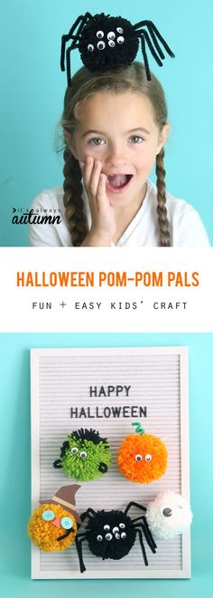 Halloween pom pom pals: kids can use yarn, pipe cleaners, and googly eyes to make fun Halloween decorations. Easy kids' craft for Halloween. Holiday Activities For Kids, Holiday Crafts For Kids, Craft Projects For Kids, Easy Crafts For Kids, Xmas Crafts, Kid Crafts, Yarn Crafts, Kids Christmas, Craft Ideas