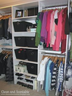 Clean & Scentsible: Master Closet Organization--This looks like it can be done on a budget! Closet Redo, Closet Shoe Storage, Closet Remodel, Walk In Closet, Closet Organization, Closet Ideas, Organization Ideas, Storage Ideas, Closet Makeovers