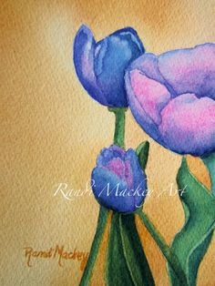 Original Watercolor by me, RandiMackeyArt - Irish Tulips positioned right, look for Tulips positioned left to complement this painting.