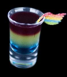 Double Rainbow Shot Mocktail