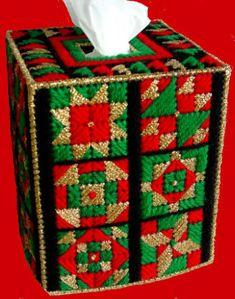 Beautiful Boutique Tissue Box Cover CHRISTMAS QUILT COLLAGE