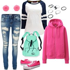 School Day by dazzling-dazed-dayz on Polyvore featuring Boohoo, Uniqlo, Vero Moda and Converse