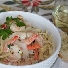 Shrimp and Mushroom Linguini with Creamy Cheese Herb Sauce...this recipe is AMAZING!  #MyAllrecipes