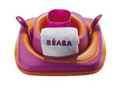 Beaba Softlines 7-Piece Dinner Set (Plate, Bowl, Cup, Spoon, Fork, Bib and Lid)