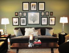 I like the candle, the colors, and the fact that the family tree has all of these pictures around it that are framed. Awesome. Cozy but modern.