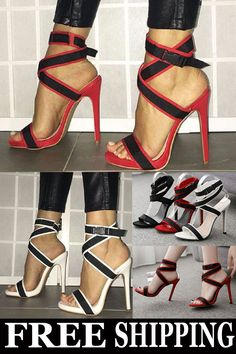 76ad7df3d63 Shoespie Stylish Stiletto Heel Velcro Strappy Color Block Sandals