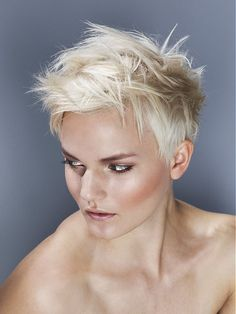 Short Blonde straight coloured messy spikey womens haircut hairstyles for women