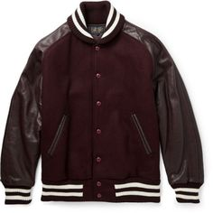 "BEAMS PLUS – LEATHER AND WOOL BLEND VARSITY JACKET First, ignore MR PORTER's designation of this as a ""Bomber Jacket"". While it is difficult to differentiate between the two, this new addition from Japan's BEAM Plus is actually a varsity jacket. With..."