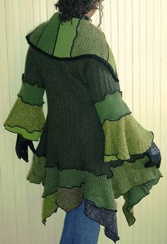 Brenda Abdullah green. I love the lines and the different-ness of this recycled sweater coat