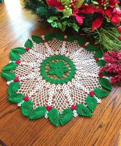 Crochet Doily Christmas Doily Home Accessories Holiday Crochet Santa, Irish Crochet, Hand Crochet, Lace Doilies, Crochet Doilies, Crochet Flowers, Christmas Projects, Christmas Time, Christmas Stuff