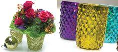 Mercury Glass in fun colors Colored Vases, Mercury Glass, Planters, Colors, Fun, Home Decor, Plants, Interior Design, Home Interior Design