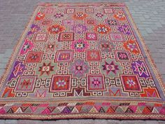 VINTAGE Turkish Kilim Rug Carpet Cicim embroidered by sofART, $369.00