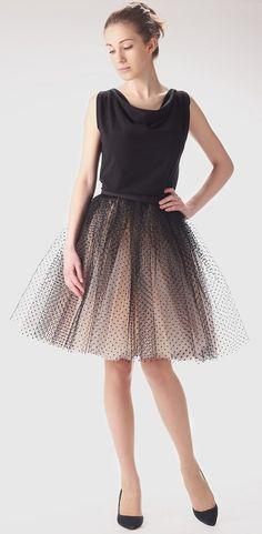 Tylová sukně champagne s černými puntíky, exkluzivní kolekce