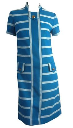 Vivid Turquoise and White Striped Mod Dress circa 1960s - Dorothea's Closet Vintage