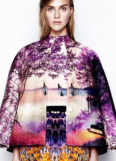 Photographic Prints - dress & jacket with amazingly vivid fashion landscape print // Mary Katrantzou / http://www.creativeboysclub.com/tags/mary-katrantzou