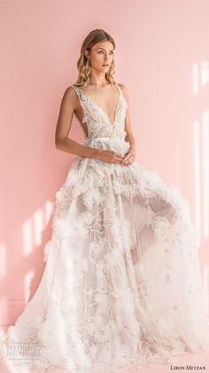 liron meyzan 2018 bridal sleevelesss deep v neck full embellishment side open romantic a  line wedding dress sweep train (3) mv -- Liron Meyzan 2018 Wedding Dresses