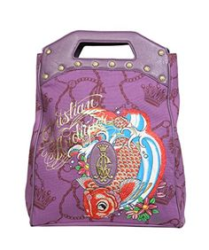 Christian Audigier Womens Studded Lucky Koi Satchel Handbag 3PCAWFISH3  List Price: $200.00 Buy Now: $39.99